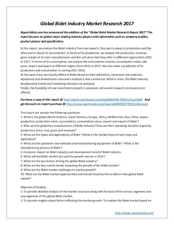 Market Studies Global Bidet Industry Market Research 2017