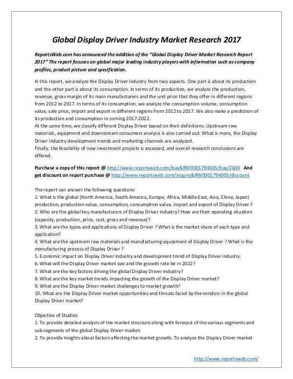 Market Studies Global Display Driver Industry Market Research 201
