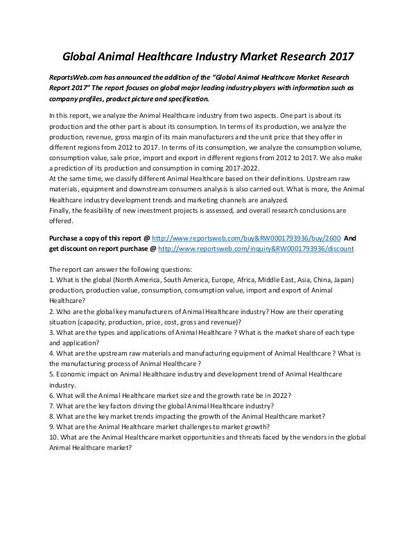Market Studies Global Animal Healthcare Industry Market Research