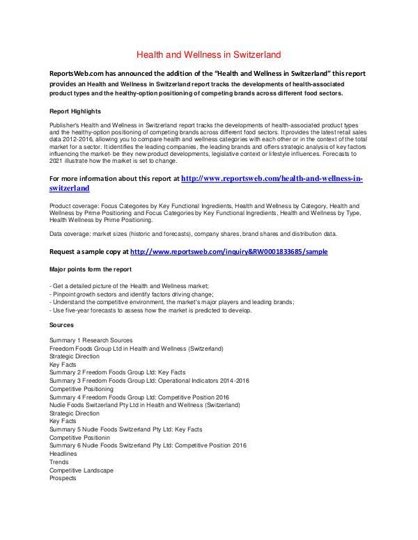 Market Studies Health and Wellness in Switzerland