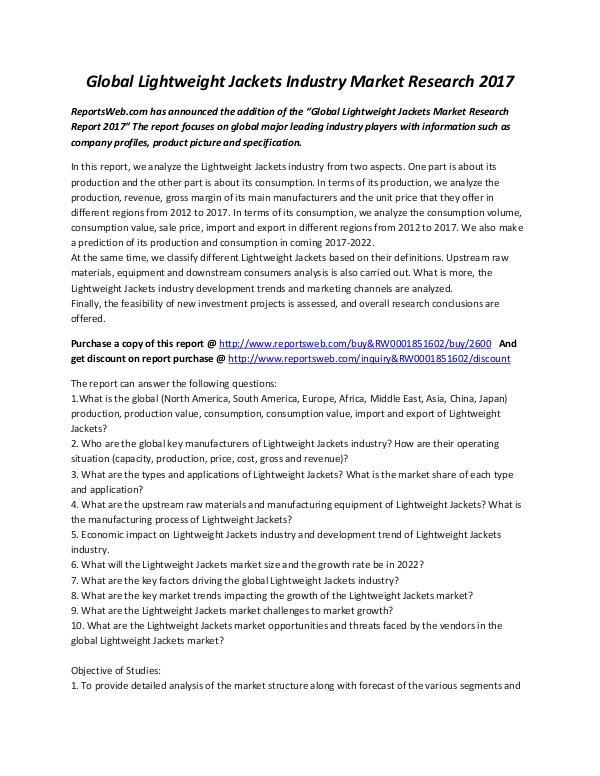 Global Lightweight Jackets Industry Market Researc