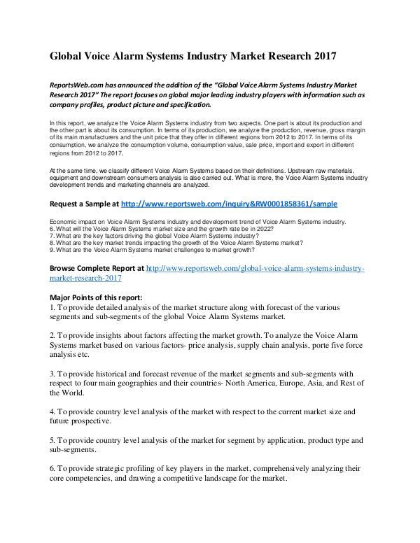 Market Studies Global Voice Alarm Systems Industry Market Researc