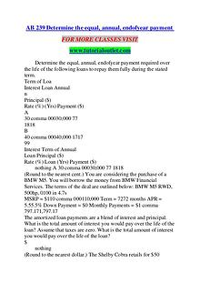 AB 239 Determine the equal, annual, endofyear payment/TUTORIALOUTLET