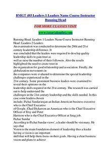 BMGT 485 Leaders 1 Leaders Name Course Instructor Running Head/TUTORI