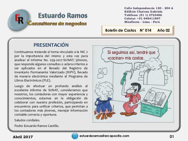 Boletín de costos ER 014 del CPC. Estuardo Ramos Boletín ER 014