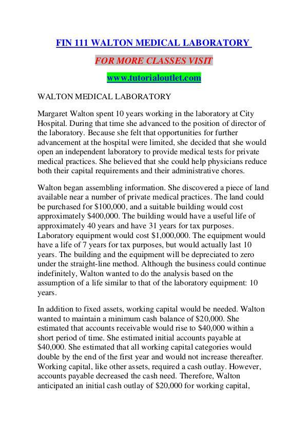 FIN 111 WALTON MEDICAL LABORATORY/TUTORIALOUTLET DOT COM FIN 111 WALTON MEDICAL LABORATORY/TUTORIALOUTLET D