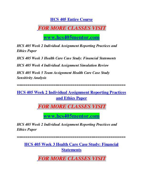 HCS 405 MENTOR  MotivatedMinds/hcs405mentor.com HCS 405 MENTOR  MotivatedMinds/hcs405mentor.com