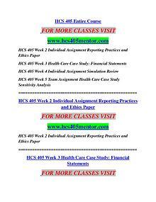 HCS 405 MENTOR  MotivatedMinds/hcs405mentor.com