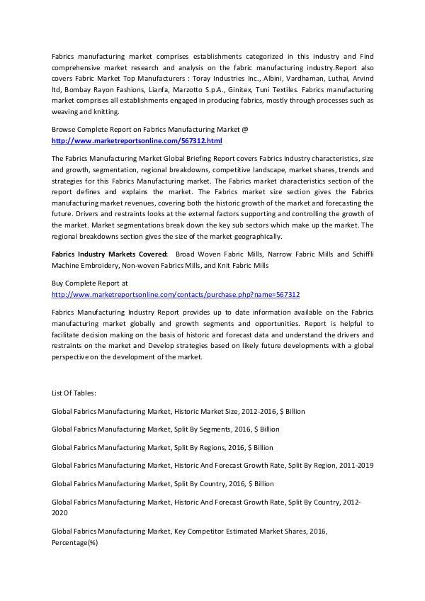 Fabrics Manufacturing Market Analysis Forecast to 2020 FEB 2017