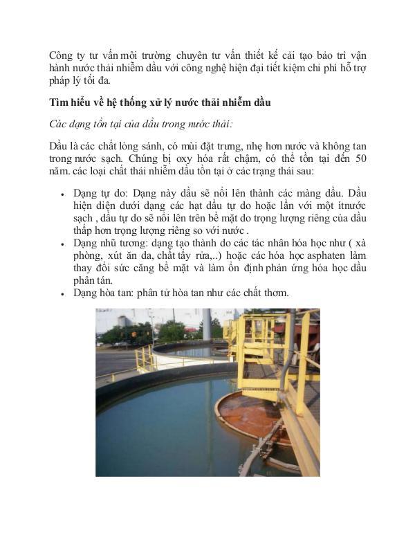 quy trình xử lý nước thải nhiễm dầu