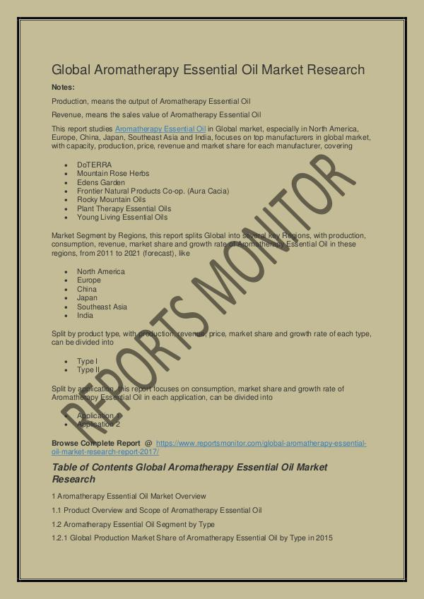 Reports Monitor - Market Reports Global Aromatherapy Essential Oil Market Research