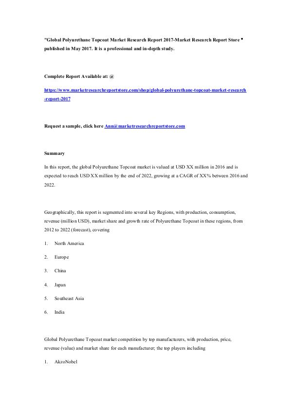 Market Research Report Store Global Polyurethane Topcoat Market