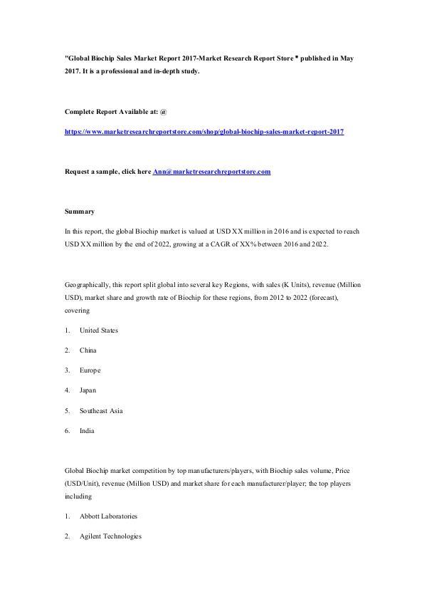 Market Research Report Store Global Biochip Sales Market