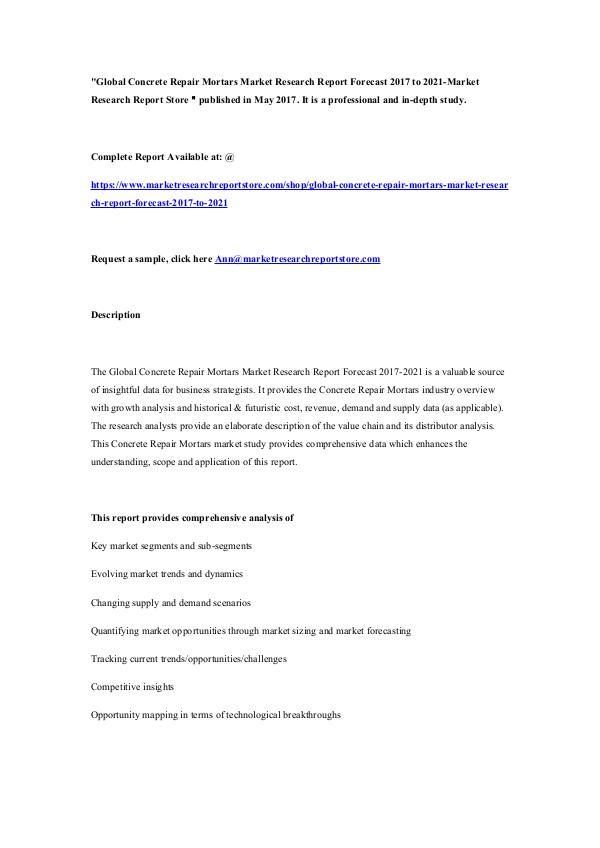 Market Research Report Store  Global Concrete Repair Mortars Market Research Rep
