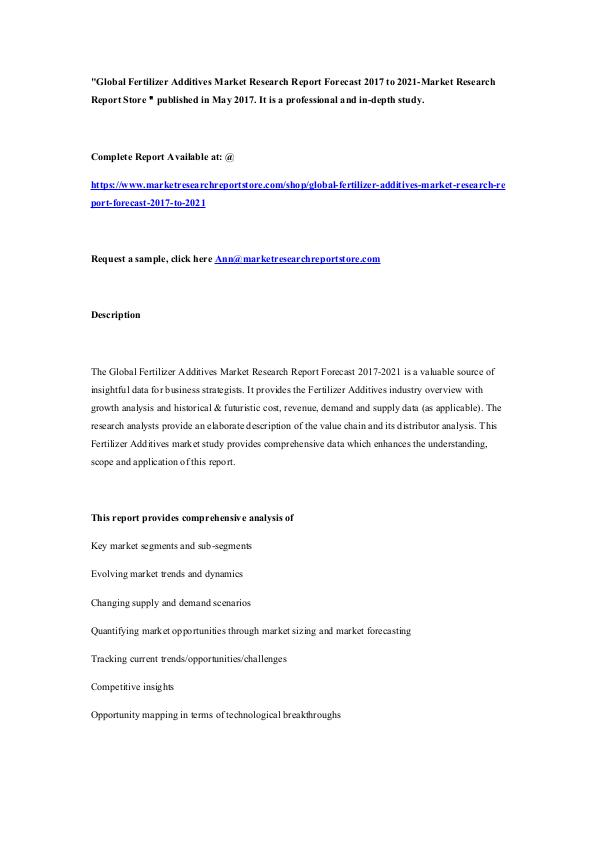 Market Research Report Store  Global Fertilizer Additives Market Research Report