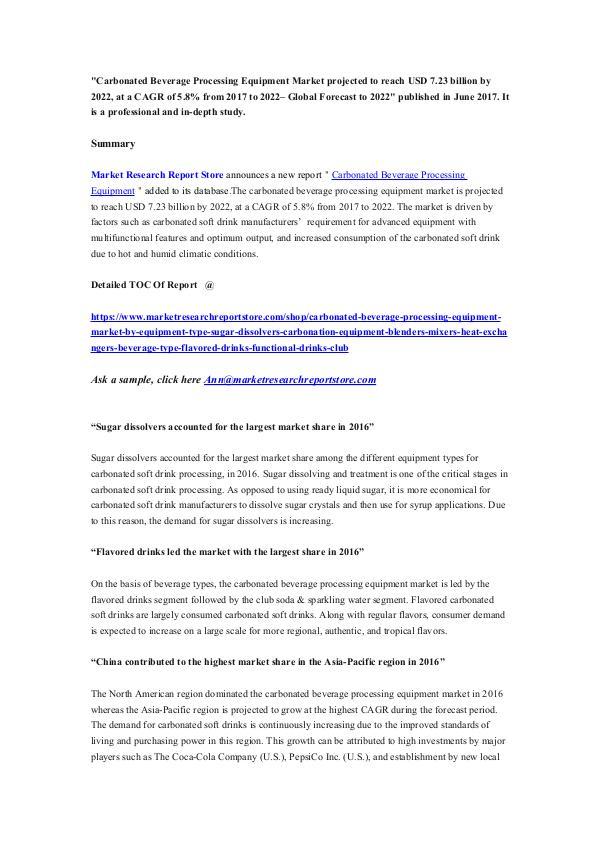 Market Research Report Store  Carbonated Beverage Processing Equipment Market pr