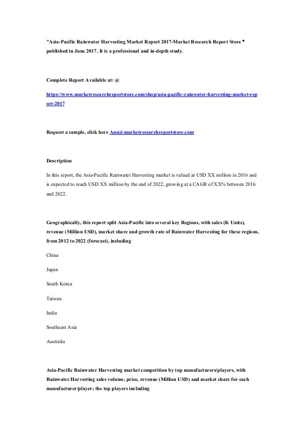 Market Research Report Store  Asia-Pacific Rainwater Harvesting Market Report 20