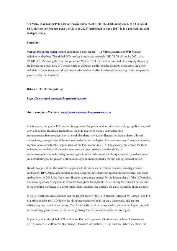 Market Research Report Store  In Vitro Diagnostics