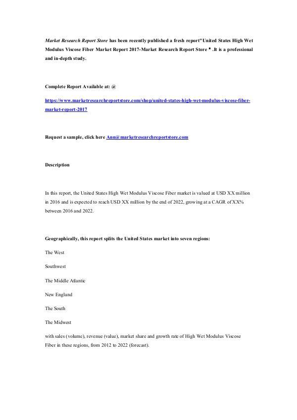 Market Research Report Store  United States High Wet Modulus Viscose Fiber Marke