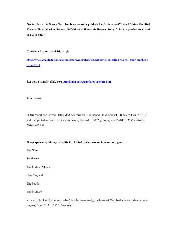 Market Research Report Store  United States Modified Viscose Fiber Market Report