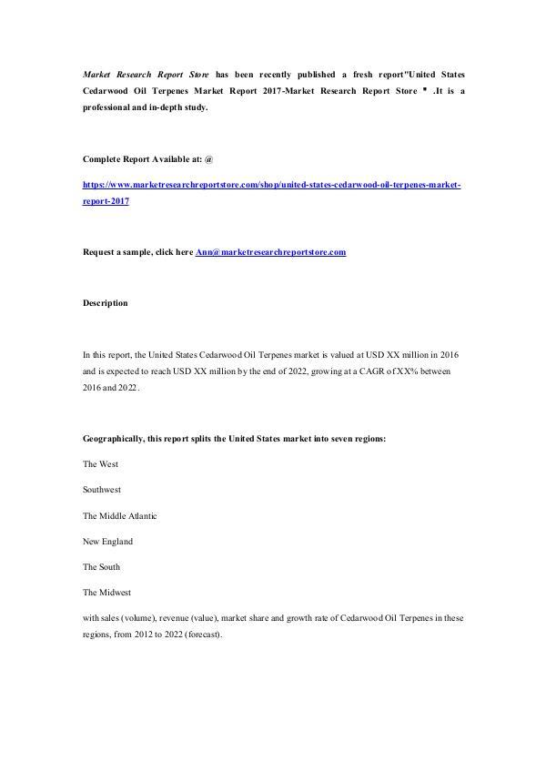 Market Research Report Store  United States Cedarwood Oil Terpenes Market Report