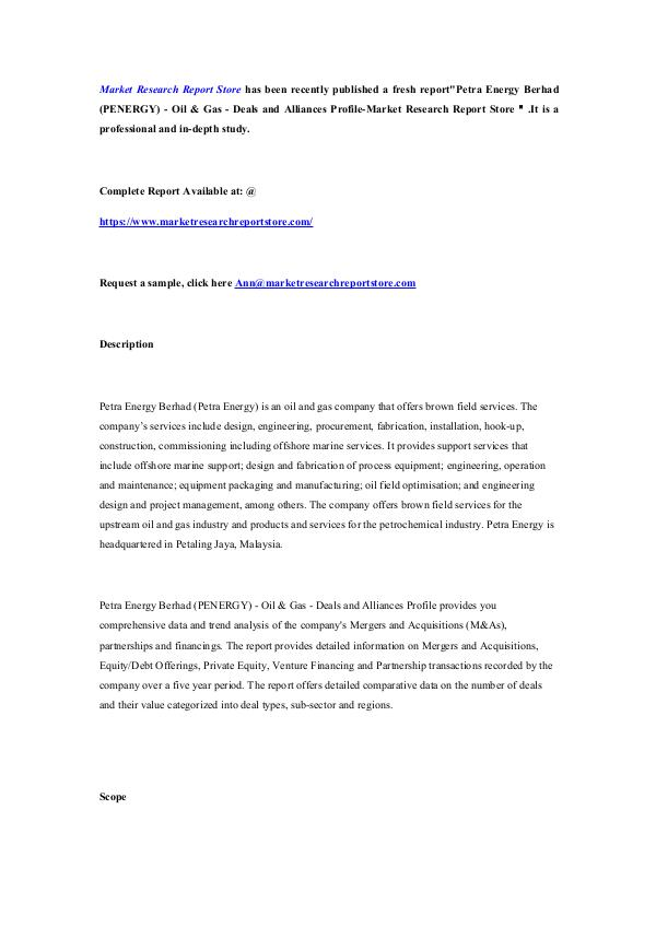 Market Research Report Store  Petra Energy Berhad (PENERGY) - Oil & Gas - Deals