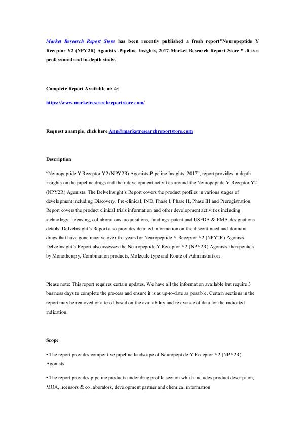 Market Research Report Store  Neuropeptide Y Receptor Y2 (NPY2R) Agonists -Pipel