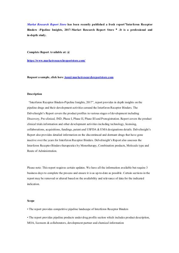 Market Research Report Store  Interferon Receptor Binders -Pipeline Insights, 20