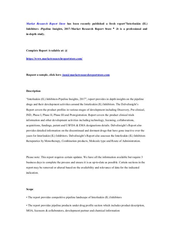 Market Research Report Store  Interleukin (IL) Inhibitors -Pipeline Insights, 20