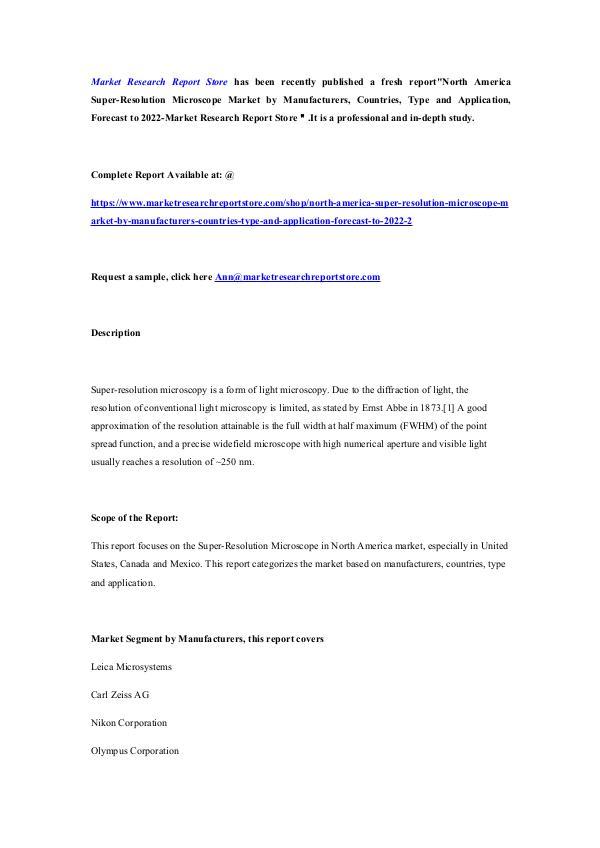 Market Research Report Store  North America Super-Resolution Microscope Market b