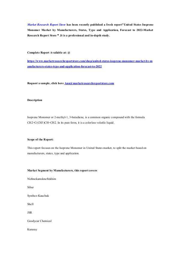 Market Research Report Store  United States Isoprene Monomer Market by Manufactu
