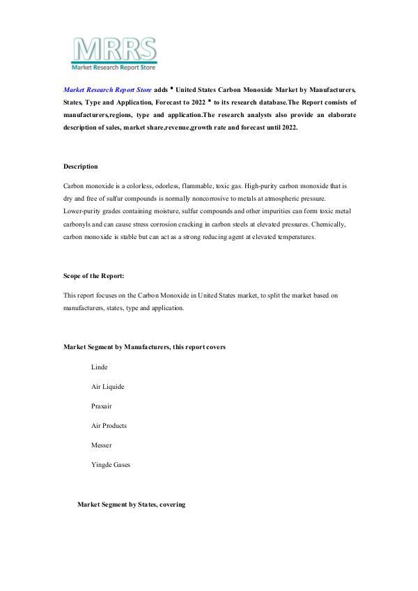 Market Research Report Store  United States Carbon Monoxide Market by Manufactur