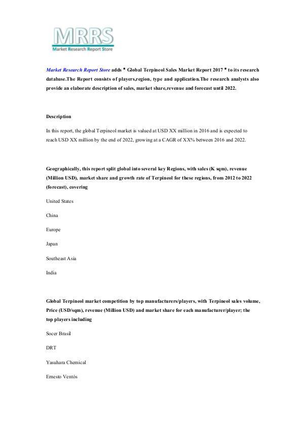 Market Research Report Store  Global Terpineol Sales Market Report 2017
