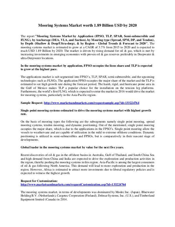 Mooring Systems Market worth 1.89 Billion USD by 2020 Mooring Systems Market