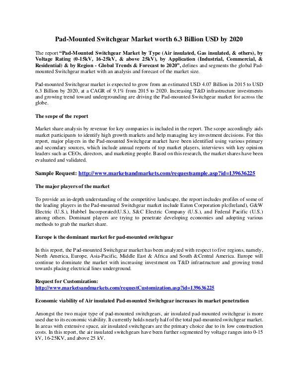 Pad-Mounted Switchgear Market worth 6.3 Billion USD by 2020 Pad-Mounted Switchgear Market