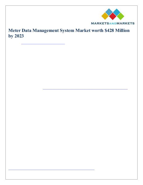Meter Data Management System Market worth $428 Million by 2023 Meter Data Management System Market - 2023