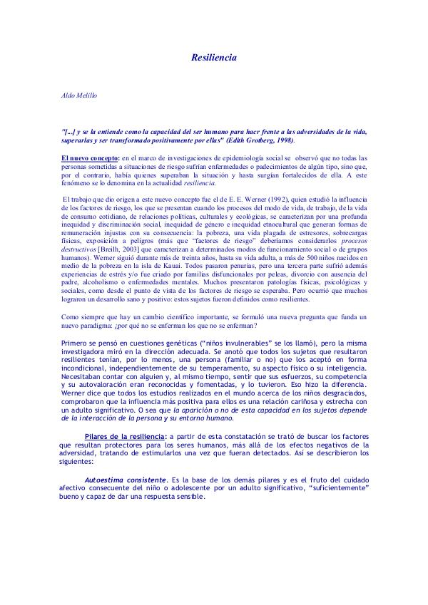 Alberione: 5 características 2-3-AA Resiliencia