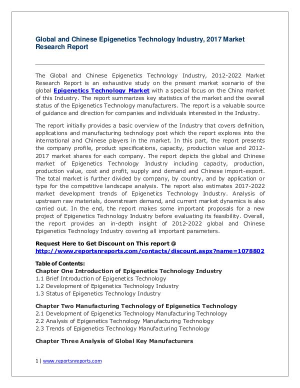 Global Epigenetics Technology Industry Analyzed in New Market Report Epigenetics Technology Industry 2022