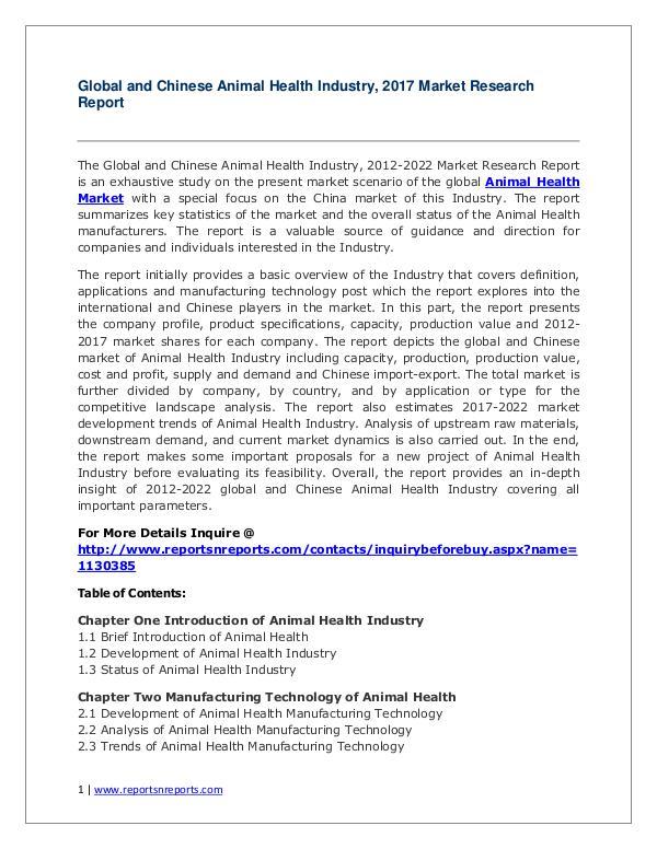 Global Animal Health Industry Forecast Study 2012-2022 Animal Health Market 2012-2022 Analysis,