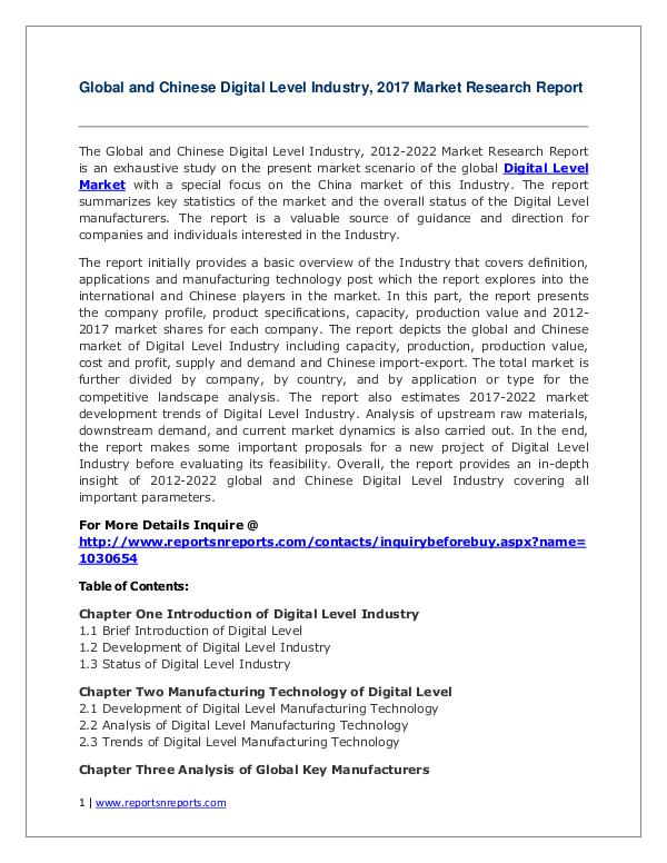 Digital Level Industry Trends and 2022 Forecasts for Global and Chine Global Digital Level Industry