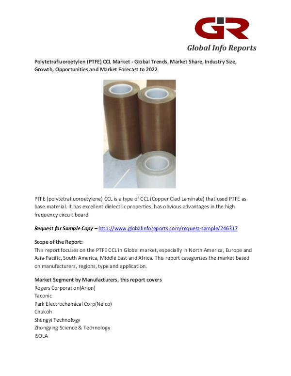 Polytetrafluoroetylen (PTFE) CCL Market - Industry Analysis Polytetrafluoroetylen (PTFE) CCL Market