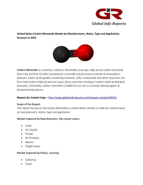 Carbon Monoxide Market : Linde, Air Liquide, Praxair, Air Products, M Carbon Monoxide Market