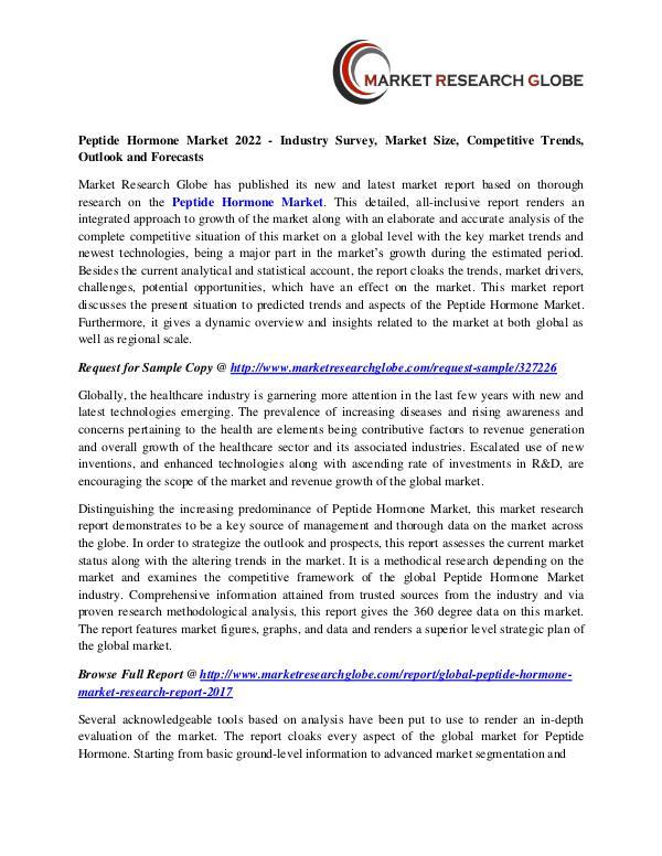 Peptide Hormone Market 2022 - Industry Survey, Market Size Peptide Hormone Market