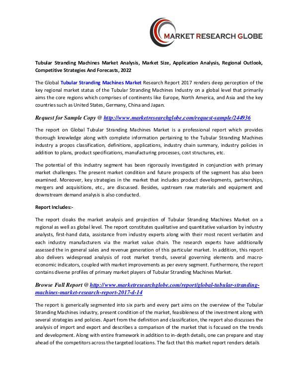 Tubular Stranding Machines Market - Global Industry Analysis, Size, Tubular Stranding Machines Market