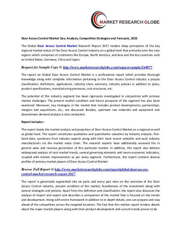 Door Access Control Market Size, Analysis, Competitive Strategies Door Access Control Market