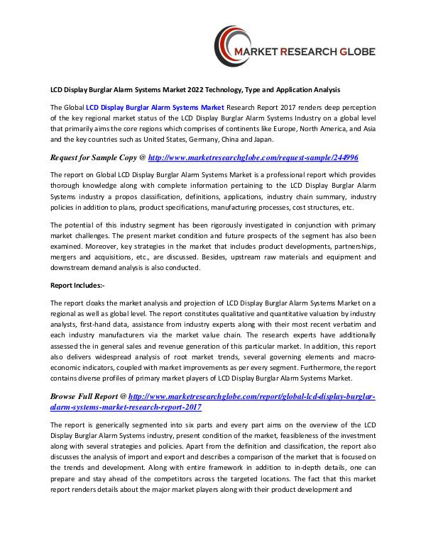 LCD Display Burglar Alarm Systems Market - Global Trends, Market LCD Display Burglar Alarm Systems