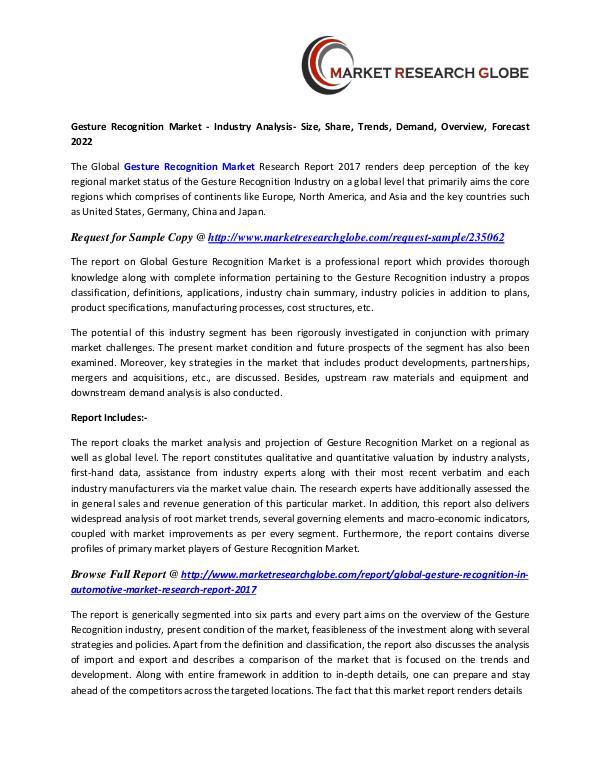 Gesture Recognition Market 2022 - Industry Survey Gesture Recognition Market