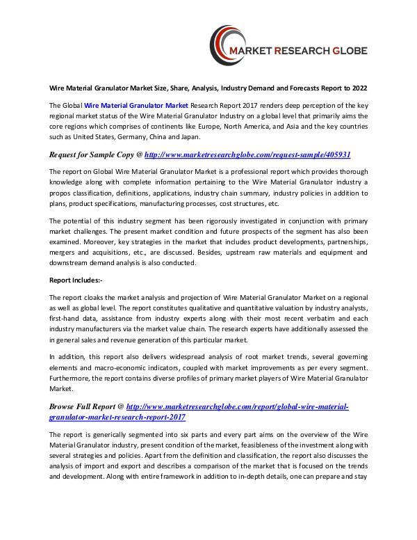 Wire Material Granulator Market Analysis, Segment, Trends Wire Material Granulator Market