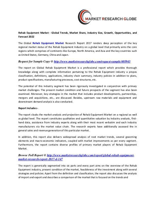 Rehab Equipment Market - Global Trends Rehab Equipment Market