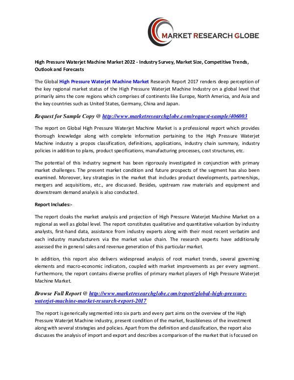 High Pressure Waterjet Machine Market Growth, Size, Trends High Pressure Waterjet Machine Market